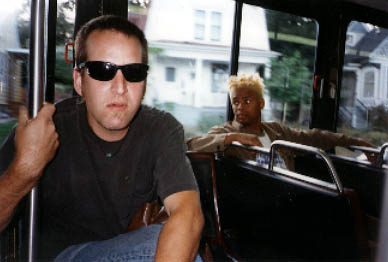 Dave Green and Mike Randle of Baby Lemonade on the bus