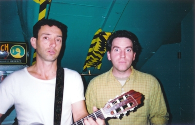 CLICK for the large version of Jonathan Richman & Michael Shelley backstage
